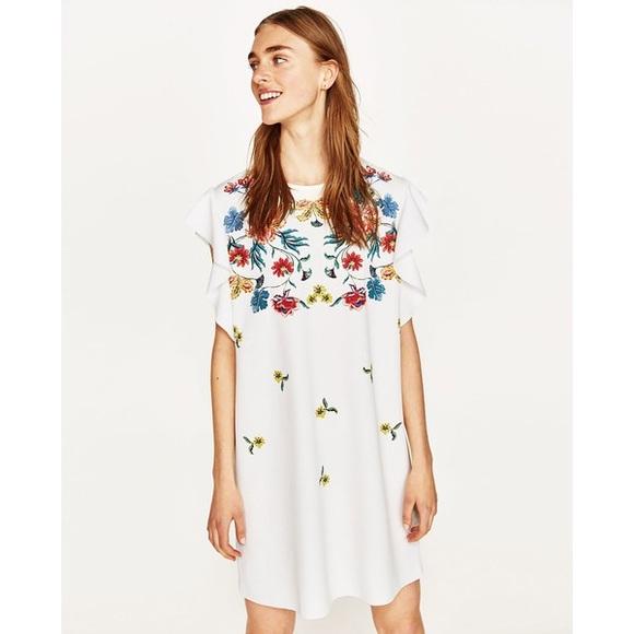 b0c40d06ce69 Zara Dresses | Nwt Floral Print Frilled Sleeve Mini Dress | Poshmark